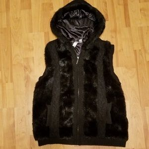 GREEN TEA | black fur sweater hoodie vest